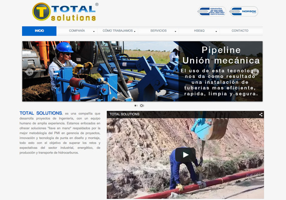 Página Web desarrollada para Total Solutions Oil & Gas.